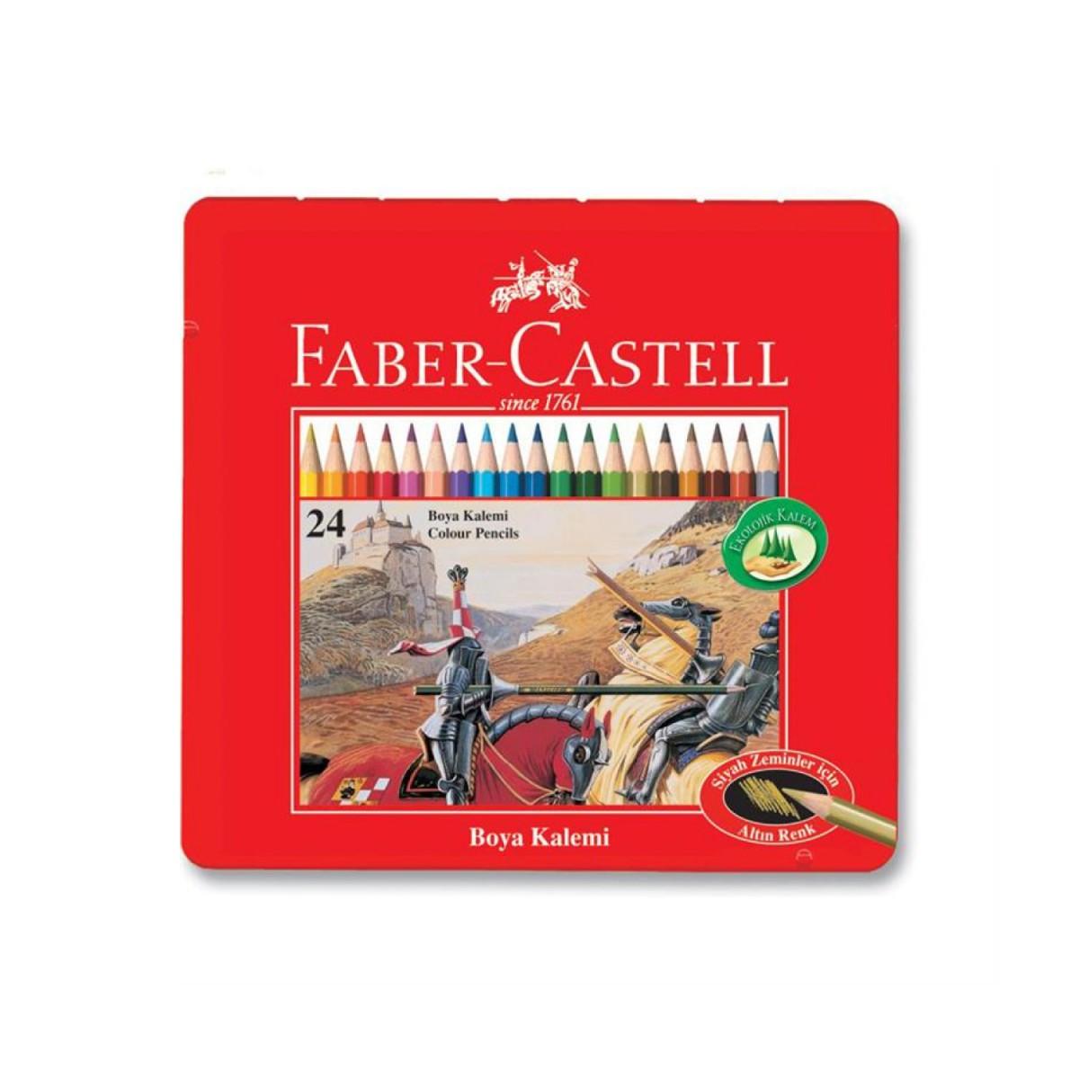 Faber Castell Metal Kutu 24 Renk Boya Kalemi