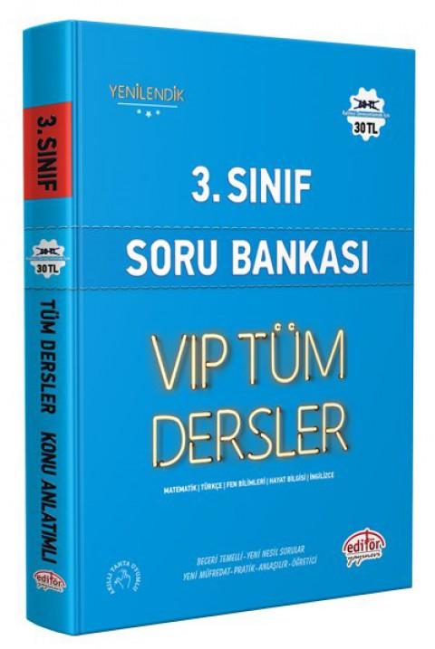 3.Sınıf Vip Tüm Dersler Soru Bankası Mavi Kitap - Editör