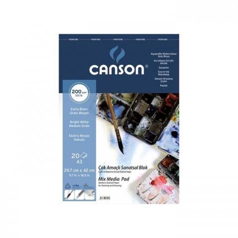 Canson 1557 Çok Amaçlı Resim Blok 200Gr A3 20Yaprak Üs