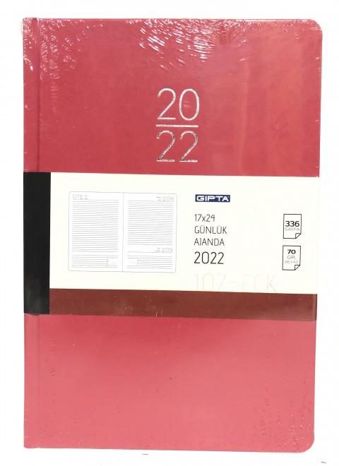 Gıpta 17x24 2022 Günlük Ajanda Kırmızı 336 Sayfa