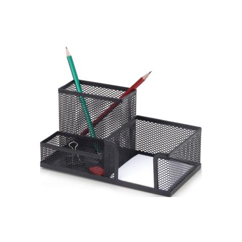 İnox Siyah Kombine Set Metal Kalemlik, Kağıtlık, Ataşlık