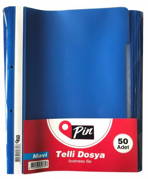 Pin Telli Dosya Mavi 50'li