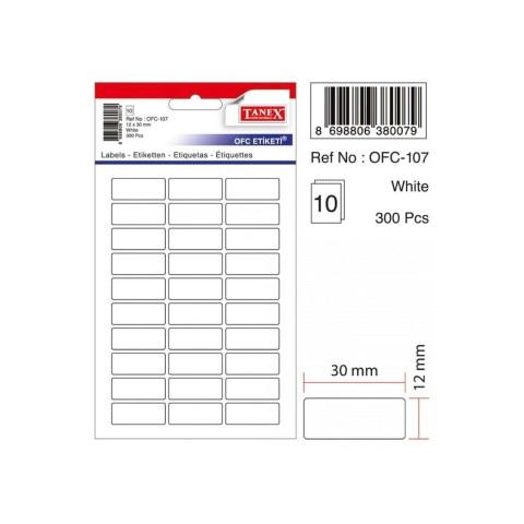 Tanex Ofc-107 12x30 Mm 300 Adet Beyaz Etiket